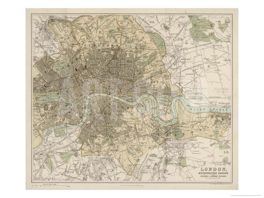 Map of London and Its Suburbs | Giclee print, Framed artwork and ...