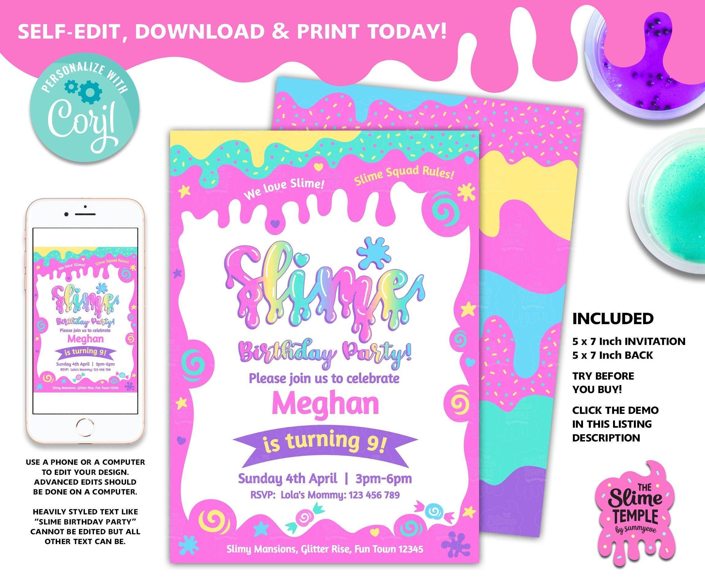 Editable slime birthday party invite selfedit slime