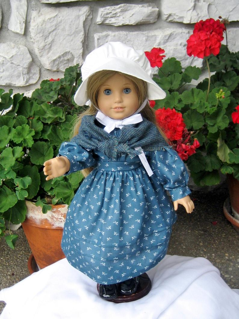 Historical Doll School Dress,Shawl,Sun Bonnet,Pantalettes,Socks,Shoes,Kirsten American Girl 18 Doll Clothes,Pretend Play,Christmas Gifts #historicaldollclothes
