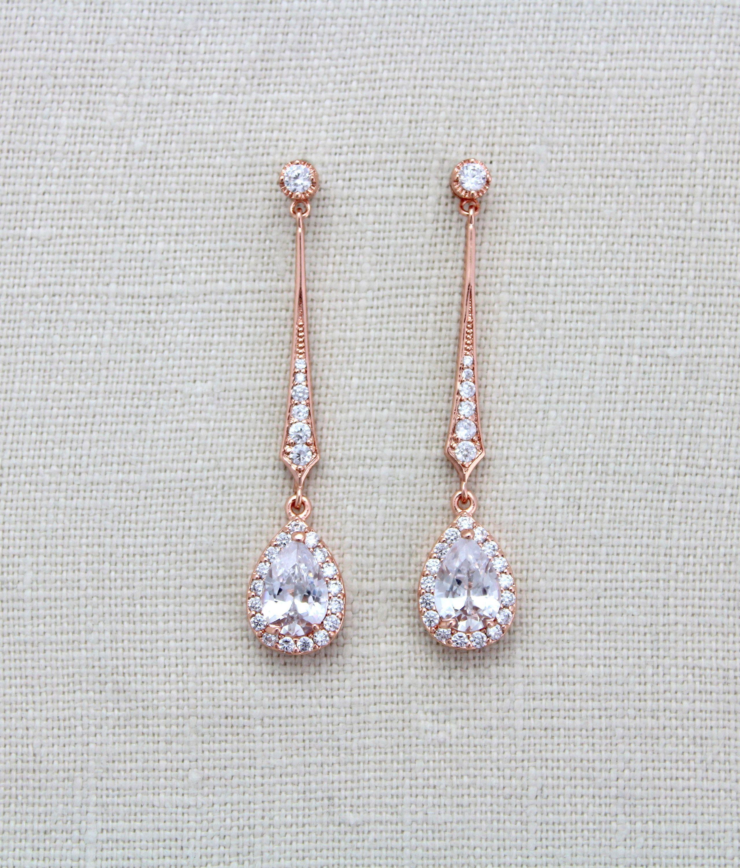 Tear drop Bridal Earrings Dainty Wedding Necklace Wedding Jewelry Set Surgical Steel Elegant Bridal Jewelry Set Bridal Teardrop Jewelry
