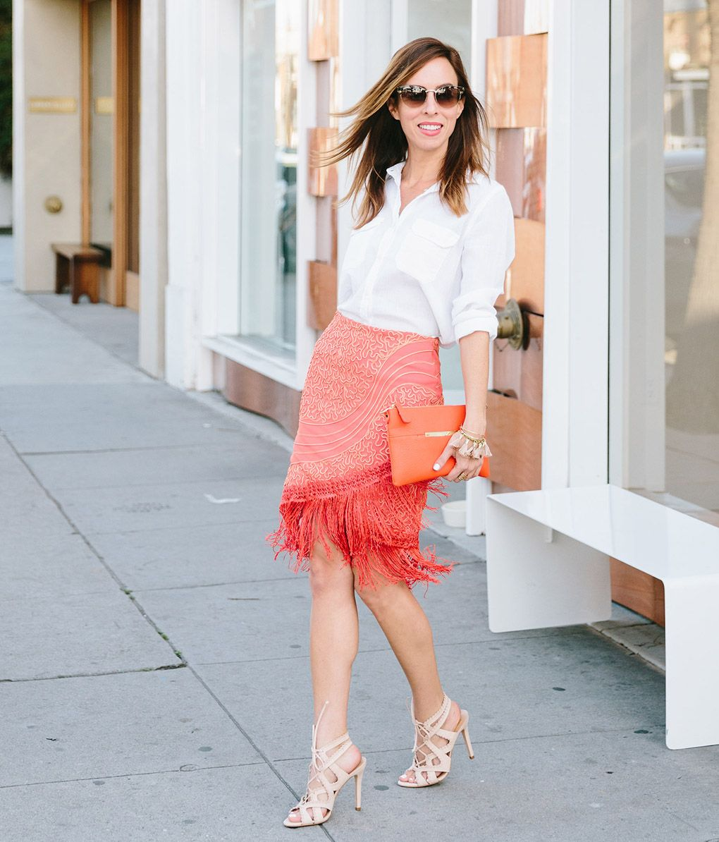 peach orange skirt with button down short