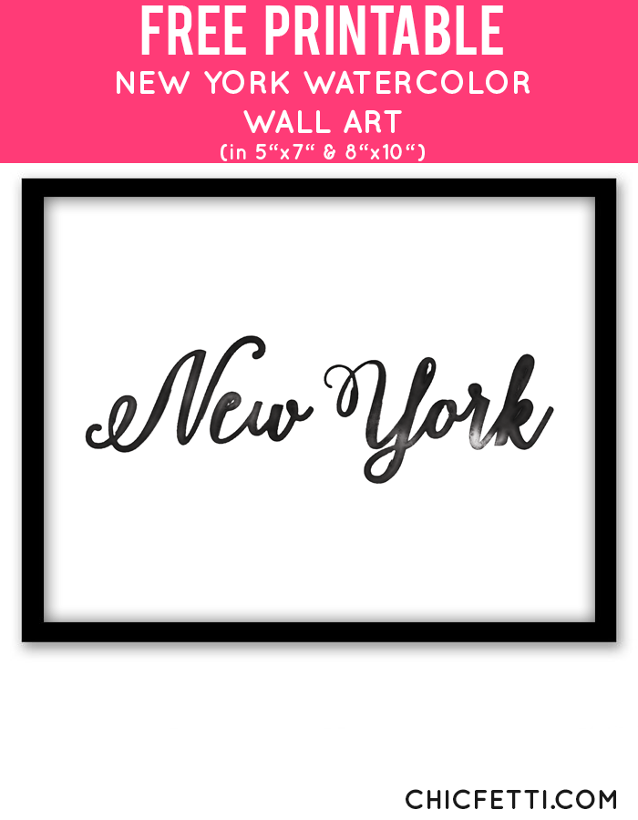 Free Printable New York Watercolor Wall Art | Office Space | Office