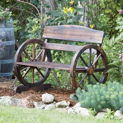 Beautiful Sit On The Wagon Wheel Bench And Watch The Hydrangeas Bloom. This Rustic  Bench Provides The Perfect Perspective To Watch Your Garden Grow. Great Pictures