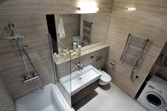 Schon Wohnidee Badezimmer Kleines Bad Ohne Fenster Beige Fliesen Natusteinoptik  Wanneu2026