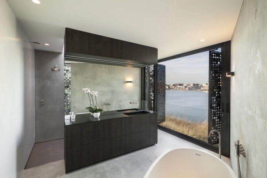Badezimmer Schiebetür ~ Dunkle schiebetüren und einen dunklen moderne eitelkeit zähler