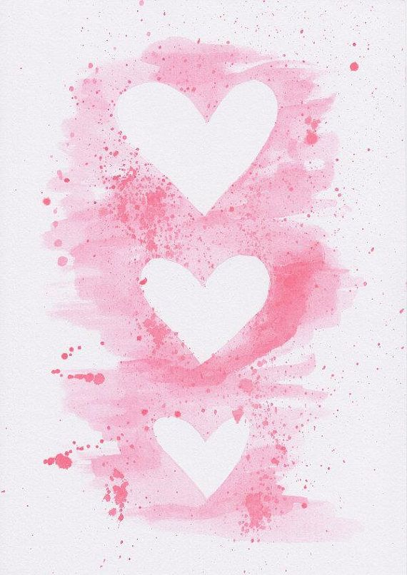 Peinture aquarelle originale: Coeurs roses avec des éclaboussures Cette pièce d'Art mural aquarelle a été peinte par Dominique et est livré avec un clip très pratique, tendance de l'art pour l'accrocher au mur. Quelques faits: * Il s'agit d'une peinture originale; pas une