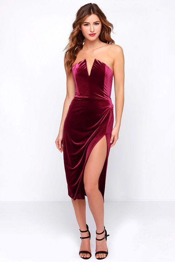 3479c5ec9dd Drawn That Way Burgundy Velvet Strapless Dress- different but sexy ...