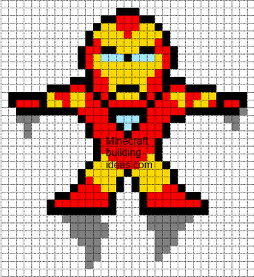 Minecraft Pixel Art Templates: Iron Man | Minecraftt | Pinterest ...