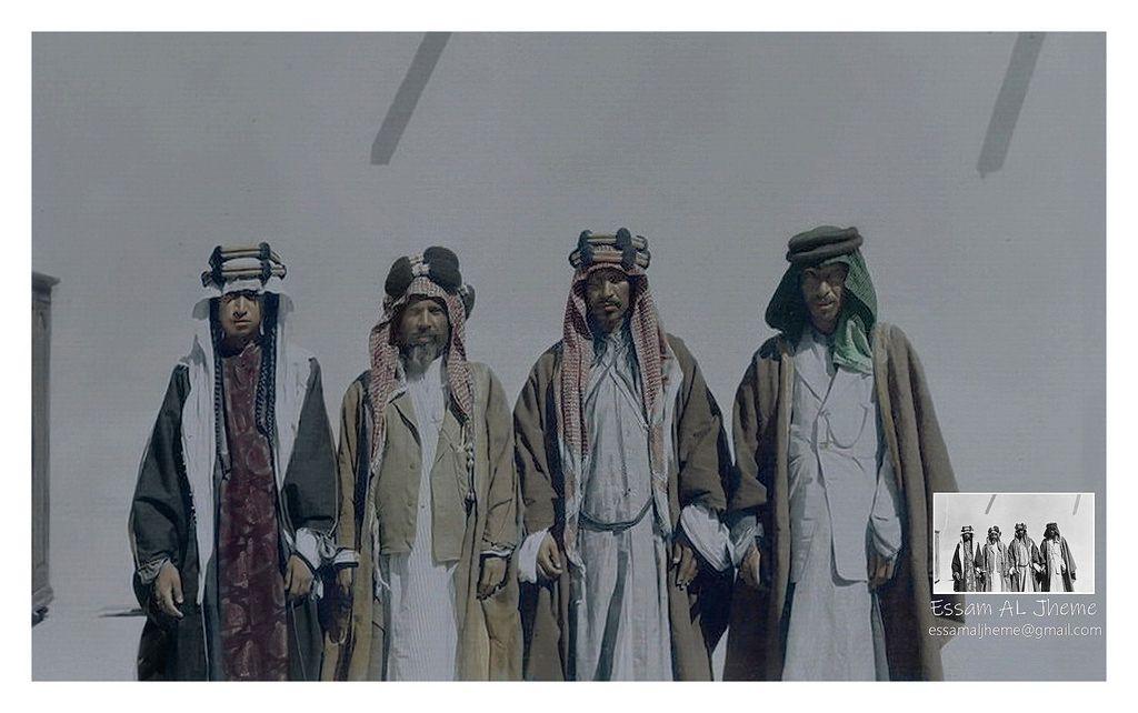 من اليمين حمود بن سويط وضاري بن طوالة وإبراهيم الراشد ومحمد الصالح السبهان الزبير 1918 م Baghdad Iraq Rare Pictures My Images