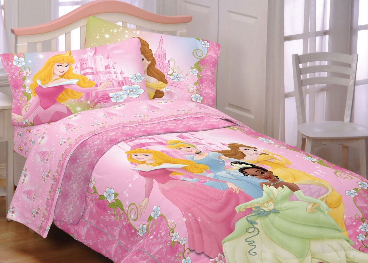 Disney dainty princesses twin bedding set tiana cinderella comforter sheets twin bed for Disney princess bedroom furniture
