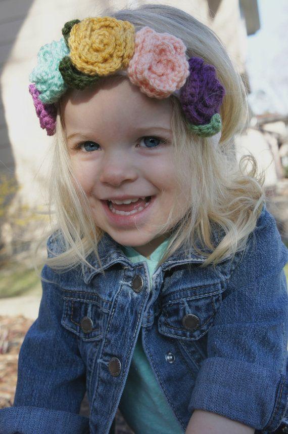 Crochet Flower Headband Flower Crown Baby by haydenandpark on Etsy ...