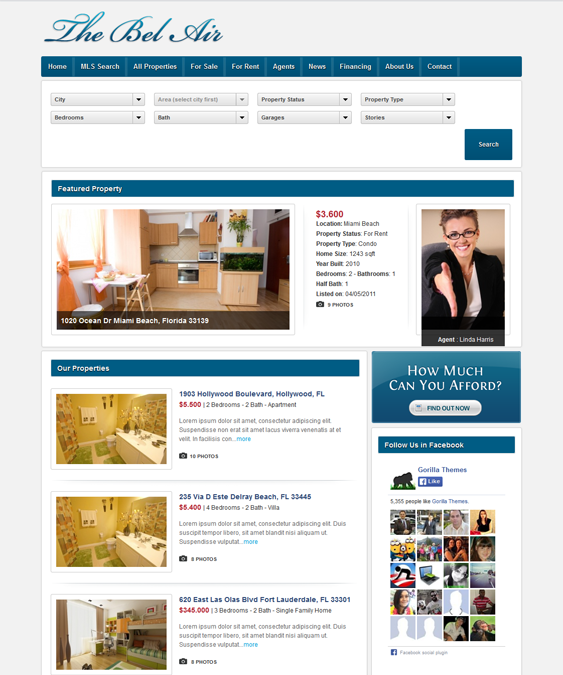 This real estate WordPress theme offers IDX/MLS search integration ...
