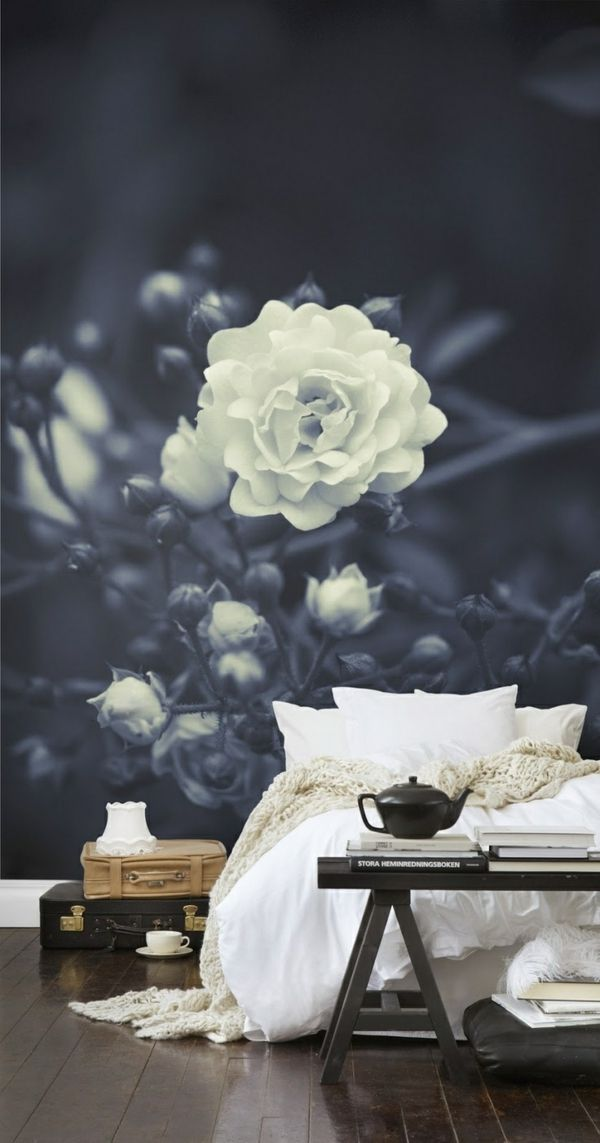 wandideen schlafzimmer wandgestaltung ideen mustertapeten rose - wandgestaltung schlafzimmer effektvolle ideen