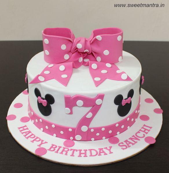 Disney Minnie Mouse Theme Customized Designer Fondant Cake With 3d