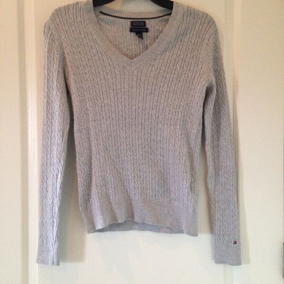 (Last Chance) Long Sleeve Knit Sweater Soft sweater from Tommy Hilfiger in perfect condition! No flaws and feels amazing on. Perfect for those windy spring days or to wear around those house or to layer with! Fits true to size. Not super loose but not tight either Tommy Hilfiger Sweaters V-Necks