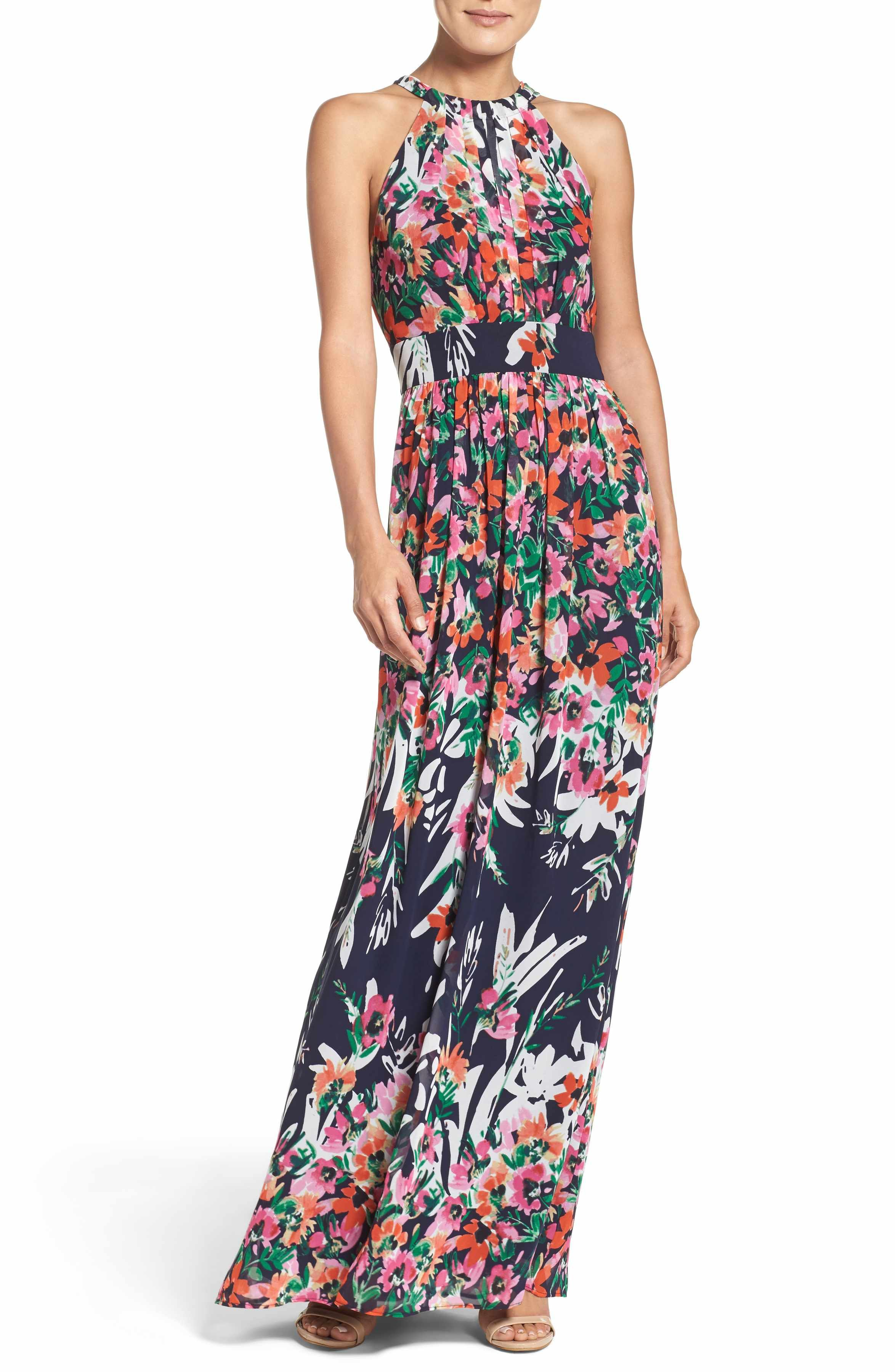 8b5537cc6d4 Main Image - Eliza J Print Chiffon Halter Maxi Dress