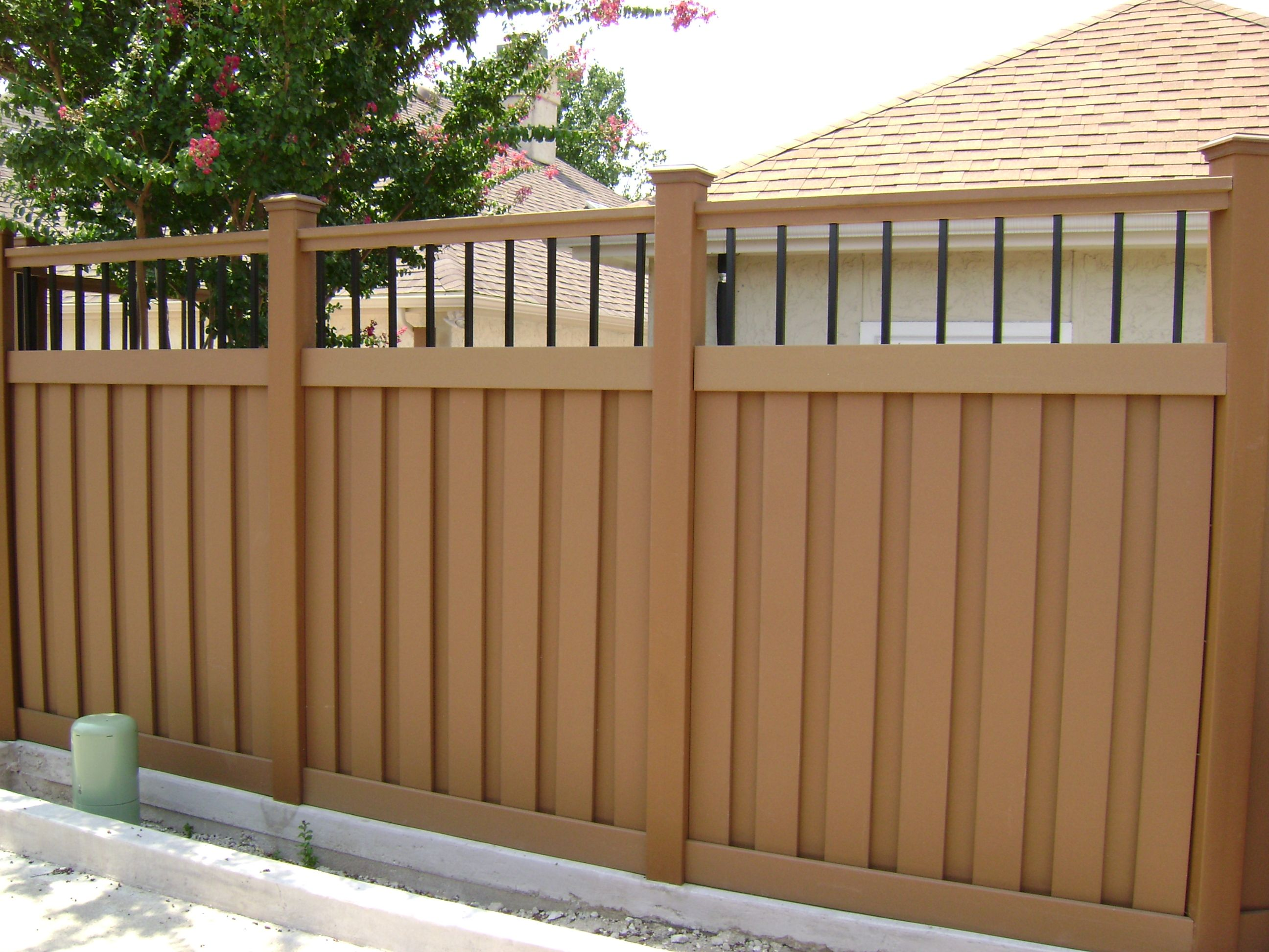 Semi privacy fence with iron.