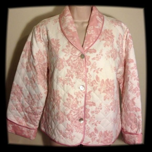 Charter Club Bed Jacket This 100% Pima Cotton is in pristine condition. It has a lovely pink and off white print and is lined with pink matching fabric. It is quilted and has mother of pearl buttons. Charter Club Intimates & Sleepwear