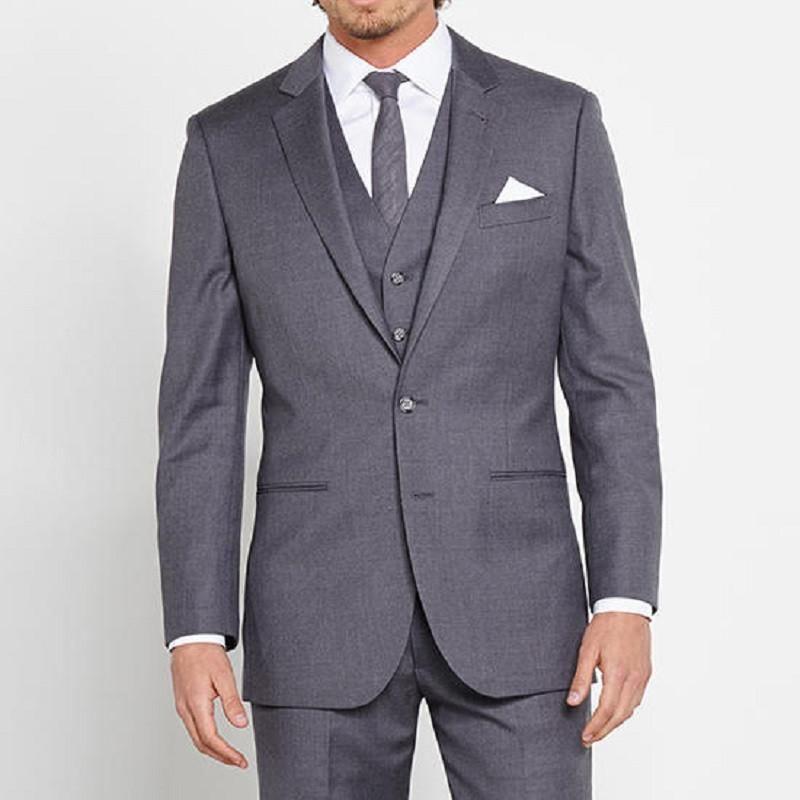 2017 Grey costume homme mariage Men Business Suit Man Groom W ...