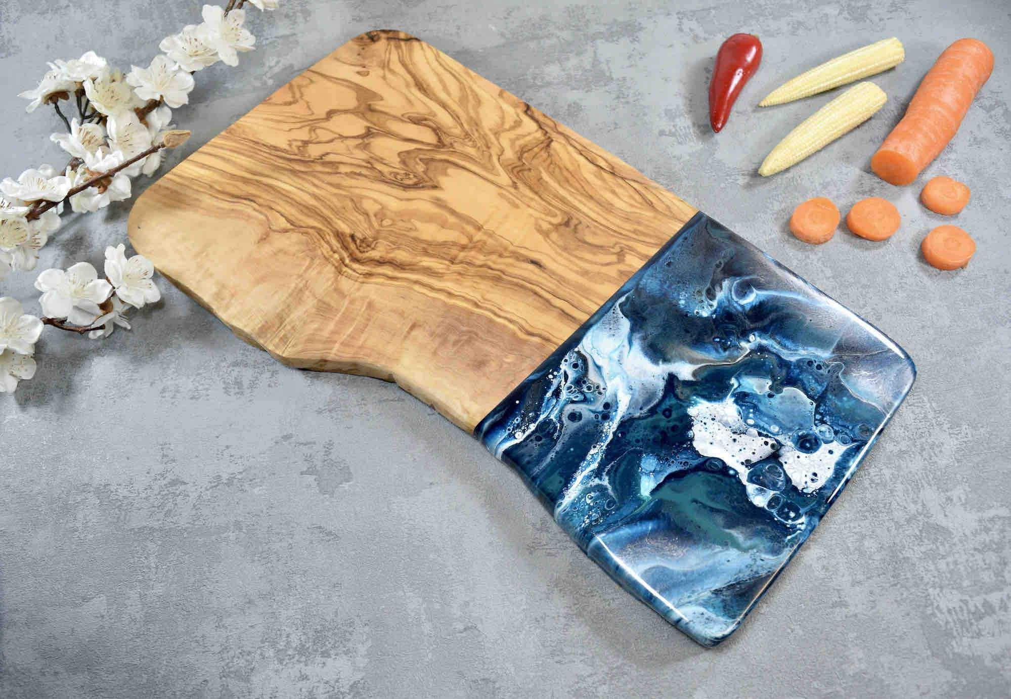 40cm Olive Wood Board with Blue Silver Resin Art