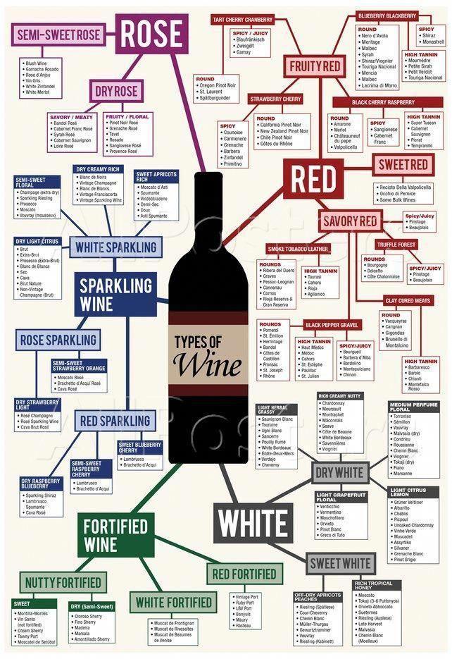 Types Of Wine Chart Poster Carta De Vinos Comida Y Vino Y