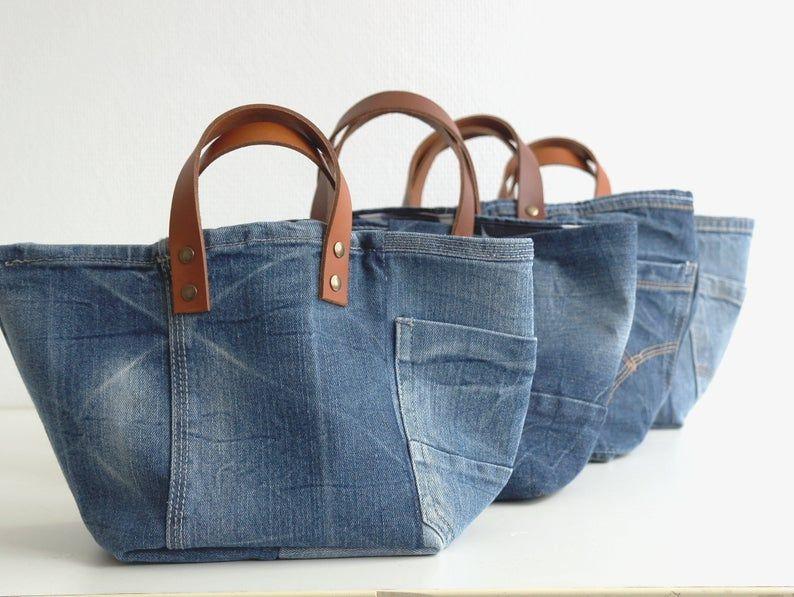 SET of 2 storage bags, storage bag, toy bin, baby gift, toys storage, storage bags, denim bag, jeans, denim, home decor