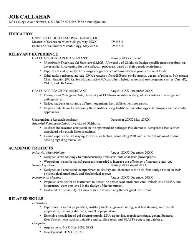 Resume Outline Example Microbiology Graduate Resume Samples  Httpexampleresumecv