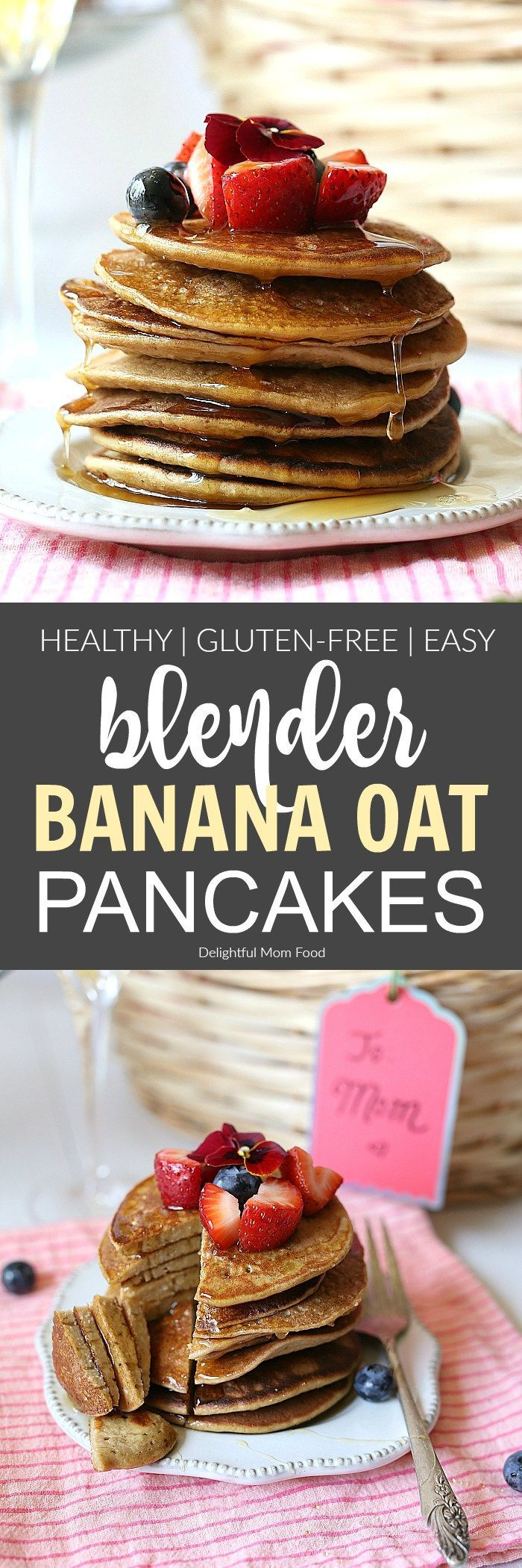 Banana Oat Blender Pancakes Warm and delicious banana oat pancakes smothered in thick maple syrup and made in a blender. A quick and healthy flourless pancake recipe with heart-healthy ingredients. | Recipe at