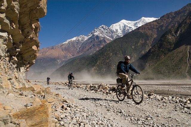 Cycle the Annapurna Circut. 'The Circuit is a highly technical tour, far different from anything most people will have cycled. This is partly because some of the trail cannot be cycled at all; this is a tour on which you'll be pushing almost as much as pedalling – welcome to the sport of hike-a-bike.' http://www.lonelyplanet.com/nepal