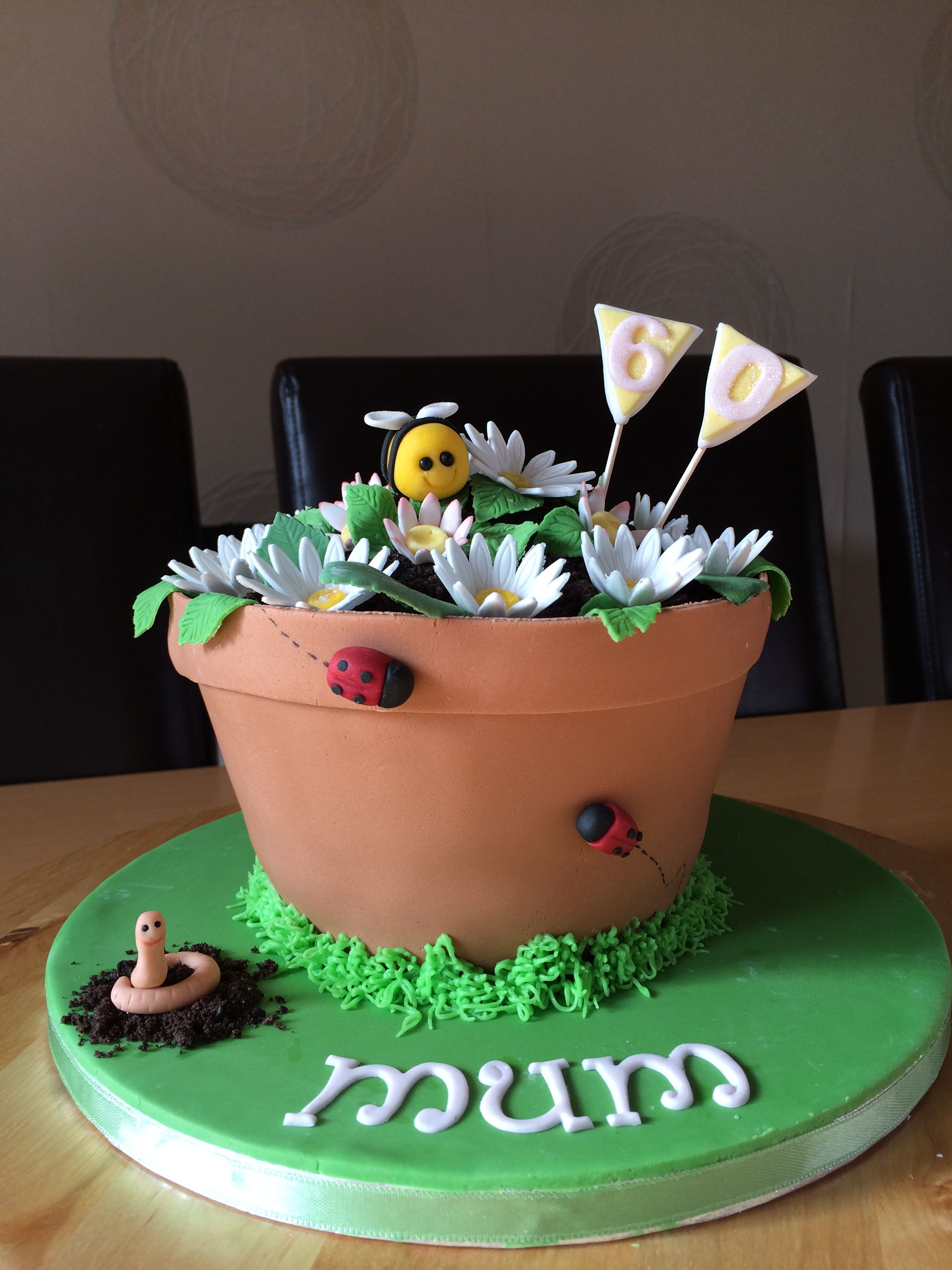 Flower pot cake all edible (With images) Birthday cake