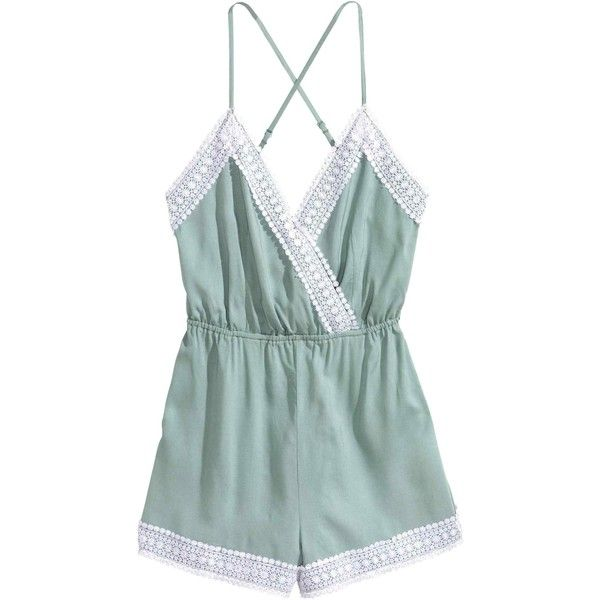 Playsuit with lace ($9.92) ❤ liked on Polyvore featuring jumpsuits, rompers, short romper, playsuit romper, lace rompers, green rompers and green romper