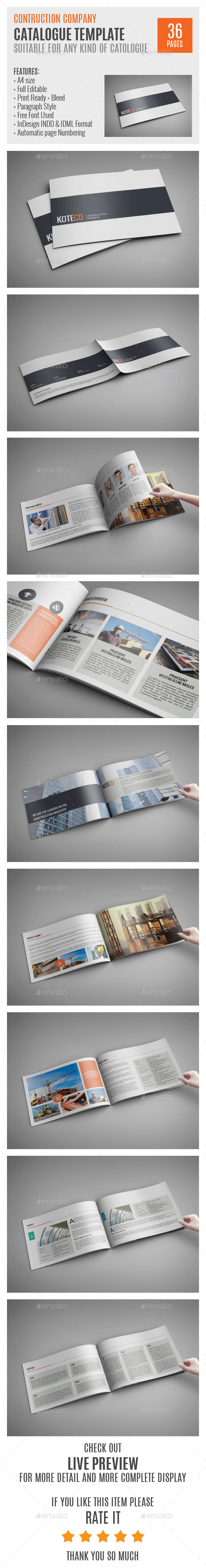 Construction Company A4 Profile Template 0006 InDesign INDD Branding Stationary O Available Here