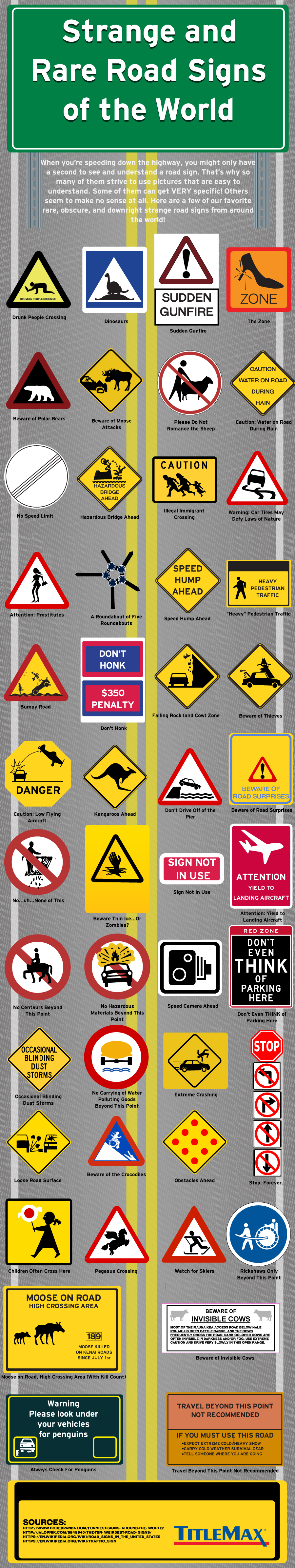 Strange and Rare Road Signs of the World #Infographic