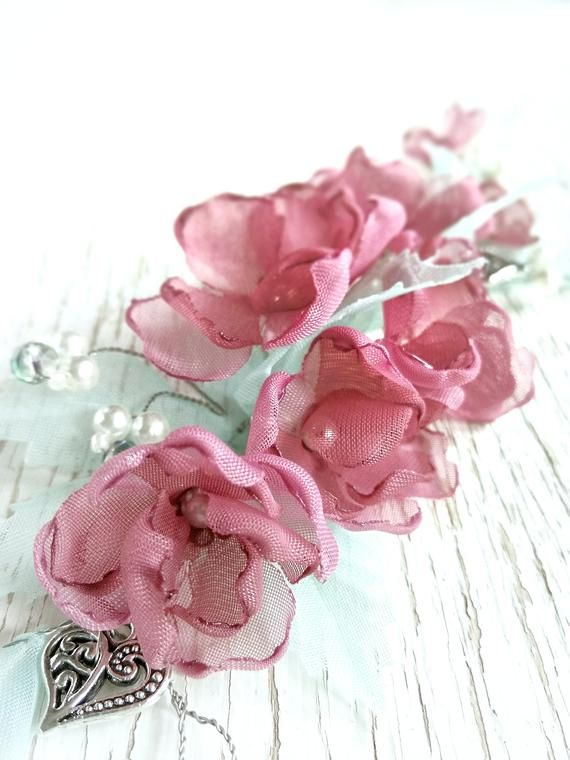 Flower hair vine, puce hair flower, bridal hair vine, wedding hair vine, pink hair flower, vintage hair accessories, vintage hair flower #bridalhairflowers