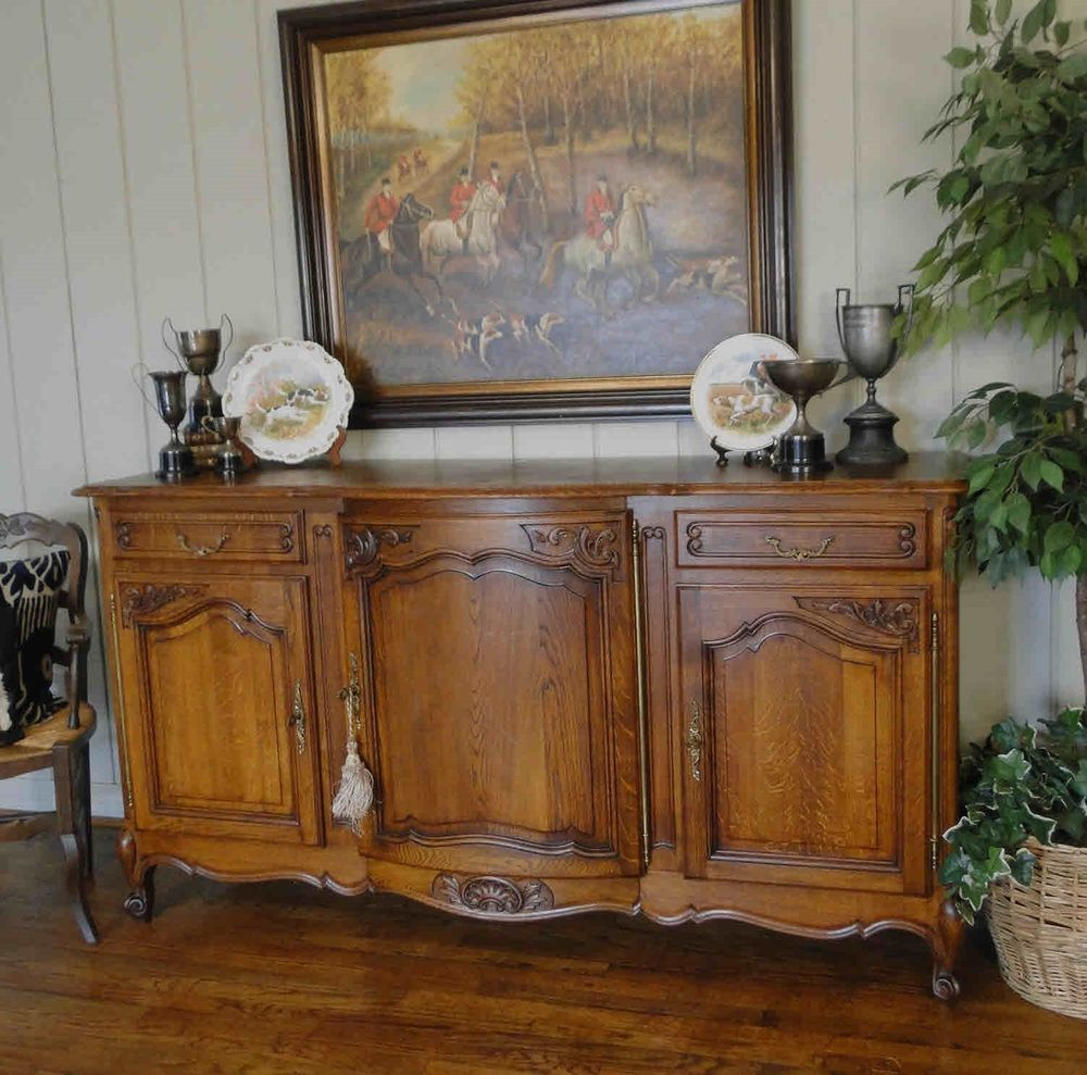 Antique French Country Buffet Sideboard Server Provence Carved Shell Dark Oak Frenchcountry Creaftsmenoftheera Dining