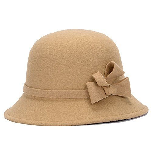 2015 Newest Vintage Women Winter Fedoras Caps Cute Trendy Wool Felt Bowler  Derby Fedora Cap Retro Bowknot Bucket Hats 34a95f42a56d
