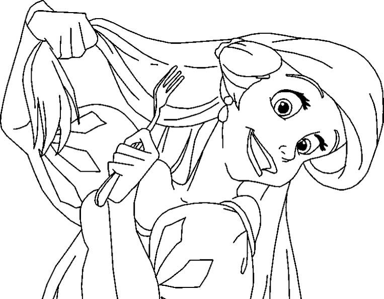 Princess Ariel Is Being Hold Fork Coloring Pages
