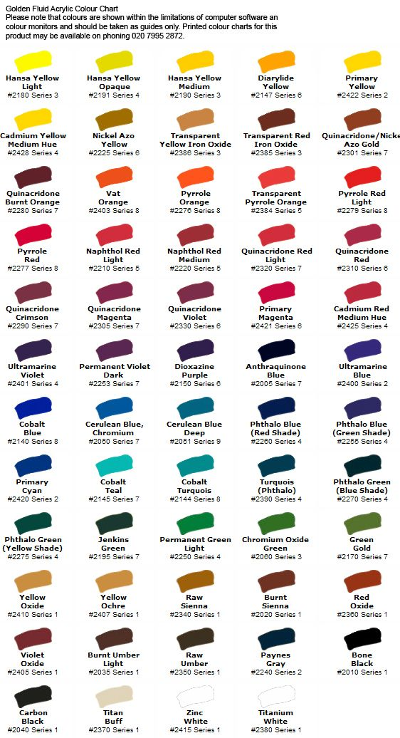 Golden Fluid Acrylic Series 2 Colour Chart Fluid Acrylics