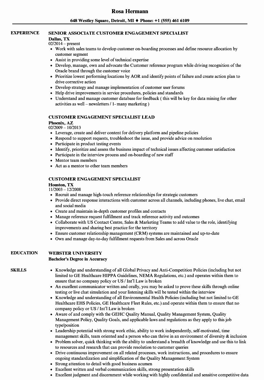 Customer Success Manager Resume Fresh Customer Engagement