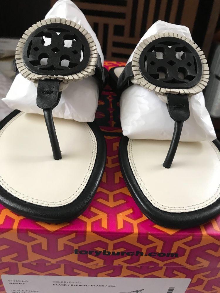 02b543cbbaa8b Tory Burch Miller Fringe Sandal Size 6.5 Black  Bleach  fashion  clothing   shoes  accessories  womensshoes  sandals (ebay link)