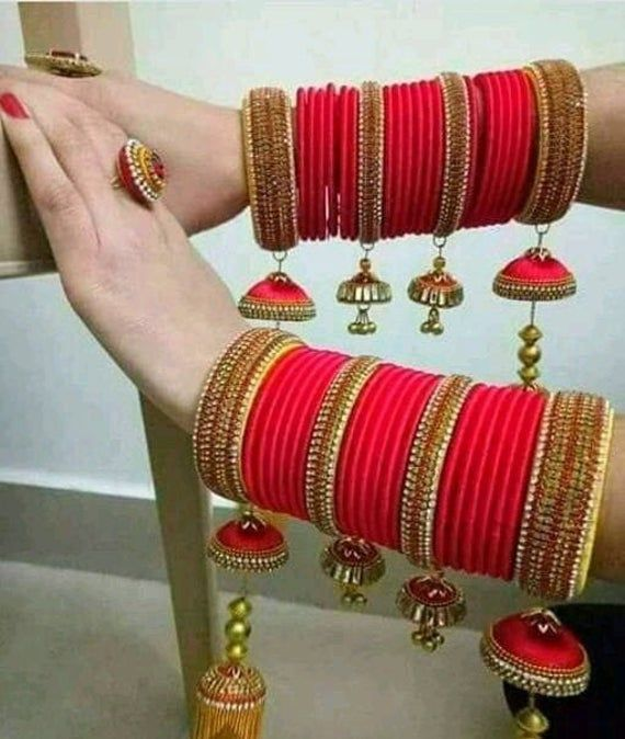 Silk Thread Fancy Designer Handmade Necklace set with Maching Earring And Bangles Size 2.6