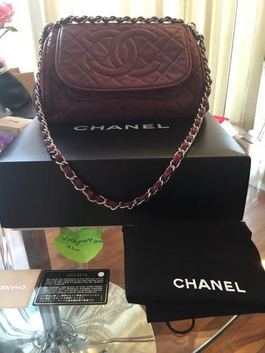 f916ced199e5 Chanel classic burgundy caviar CC accordion flap shoulder bag ...