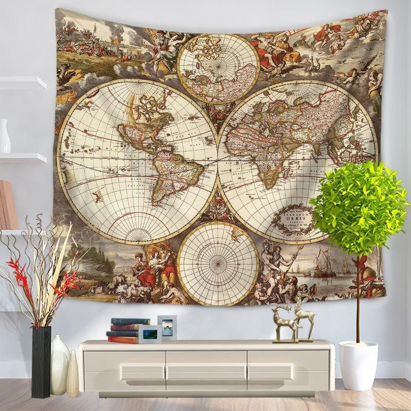 World Map Wall Tapestry Products Pinterest Sandy Beaches - Cloth world map wall hanging