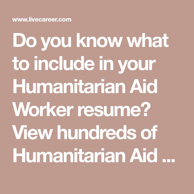 Humanitarian Aid Worker Resume Sample Humanitarian Resume