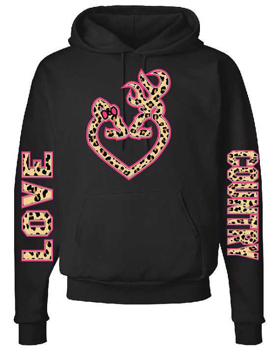 Browning Heart Logo with Fluorescent Bow and Outline, Cheetah Print, LOVE & COUNTRY Down the Sleeves