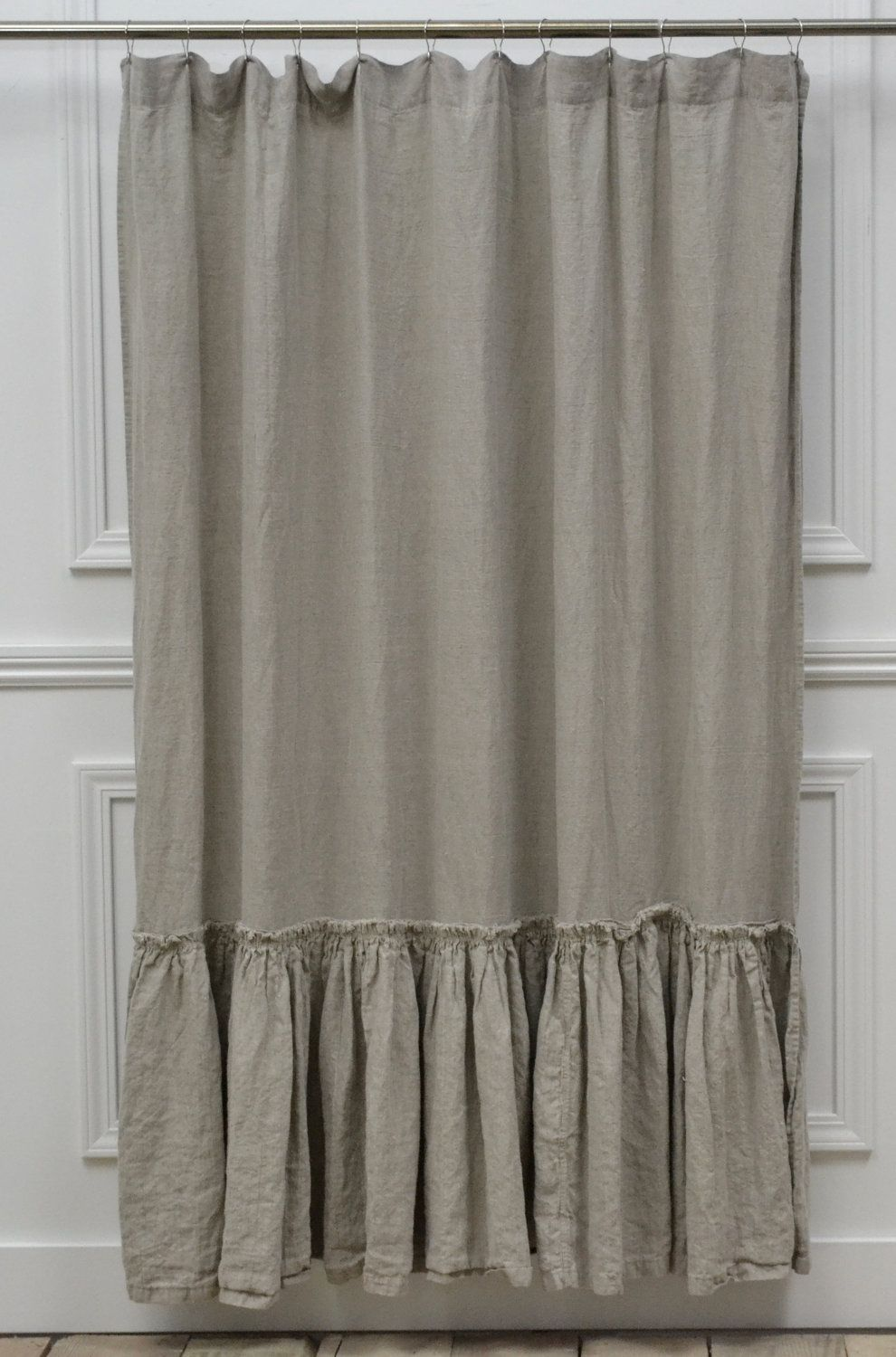 Vintage Ruffle Shower Curtain 72 W X 76 L 195 00 Via Etsy