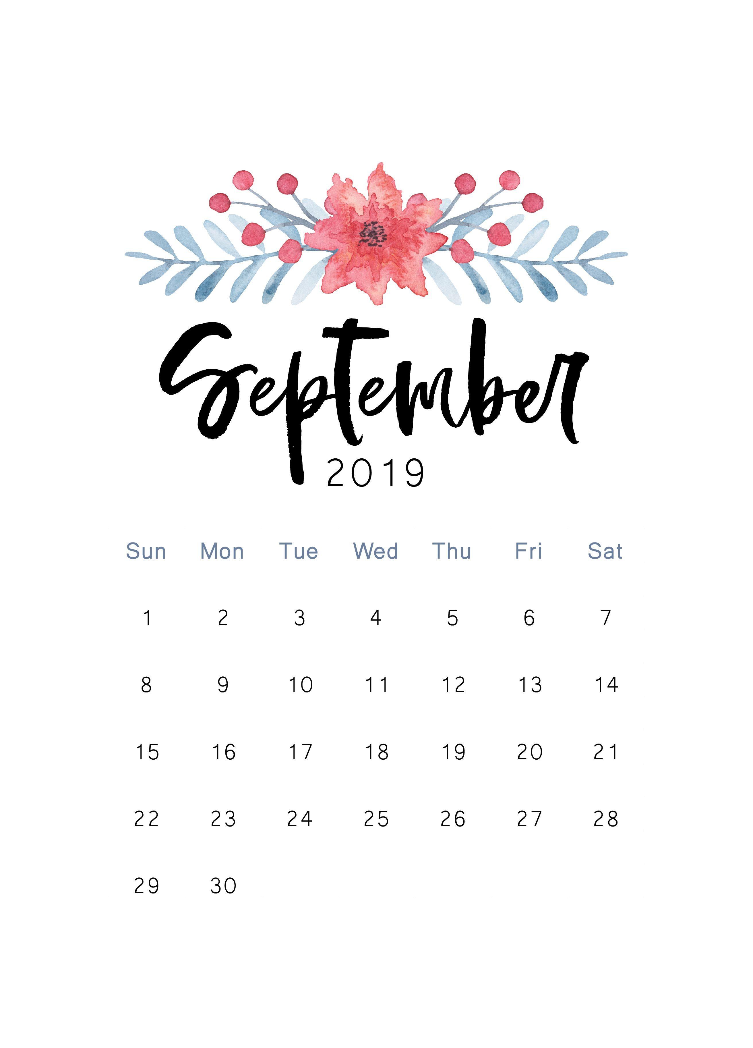 September 2019 Printable Calendar The Cactus Creative Calendar