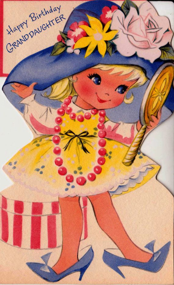 Vintage Happy Birthday Granddaughter Greetings By Poshtottydesignz