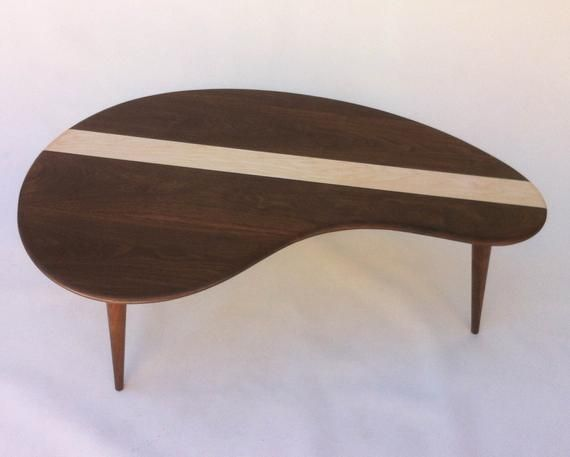 Mid Century Modern Coffee Cocktail Table Solid Walnut With Maple