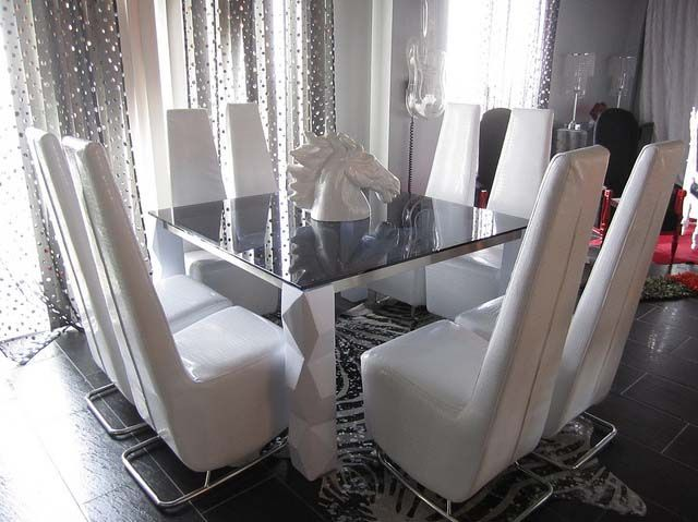4026 MODERN SQUARE GLASS DINING TABLE & 4025 MODERN CHAIRS | The IT ...